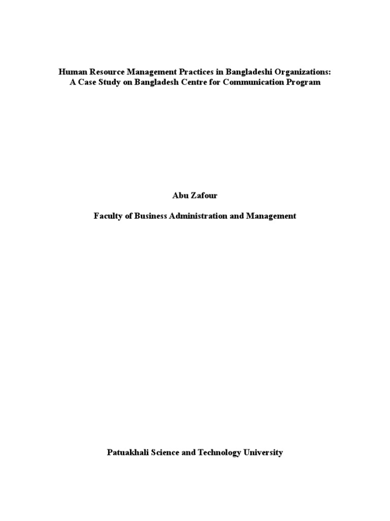 Human Resource Management Practices in Bangladeshi Organizations: A