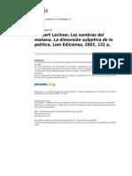 Polis 6389 7 Norbert Lechner Las Sombras Del Manana Lom Ediciones 2002 132 p