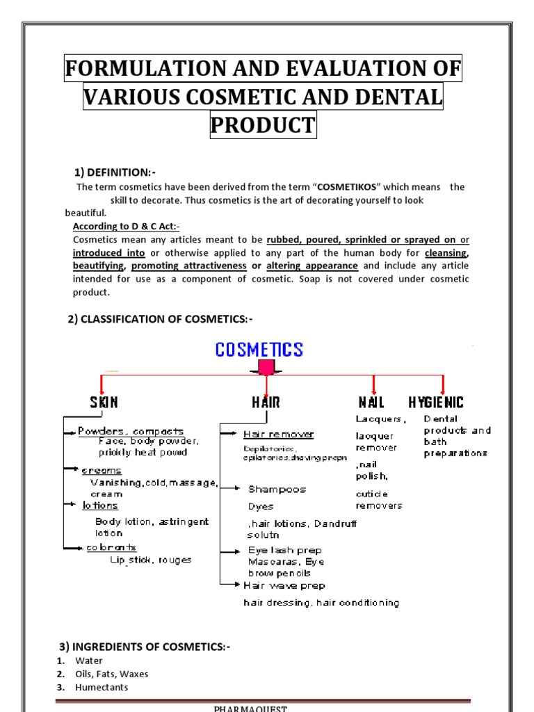 Formulation Evaluation of Cosmetic Pdts | Shampoo | Human Tooth