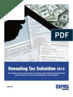 Revealing Tax Subsidies 2013