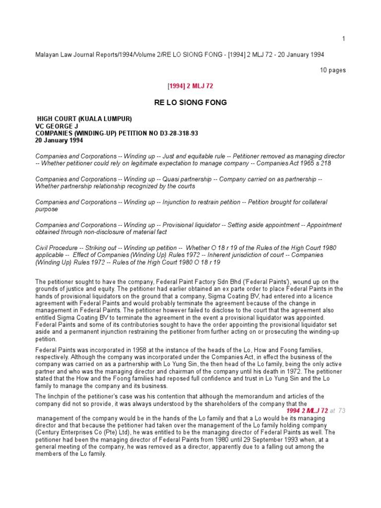Re Lo Siong Fong 1994 2 Mlj 72 Liquidation Board Of Directors