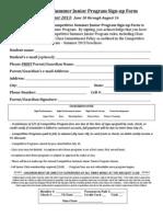 Competitive Junior Program Signup Form Summer 2013
