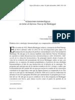 Aclaraciones Terminologicas en Torno Al Infome Naptor de Heidegger