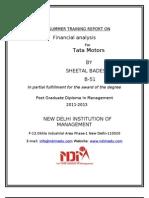 Tata Motors Summer Training