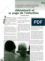 Krishnamurti et le yoga de l'attention, par Michel Jourdan
