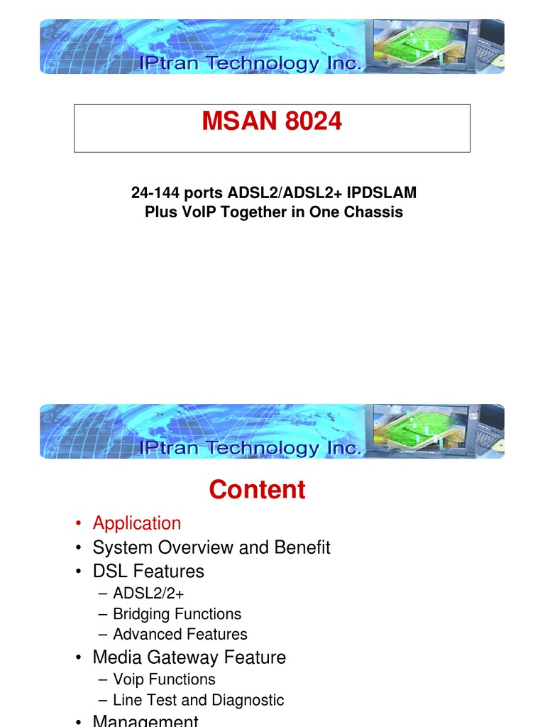 Msan 8024 Overview Voice Over Ip Digital Subscriber Line Voip An
