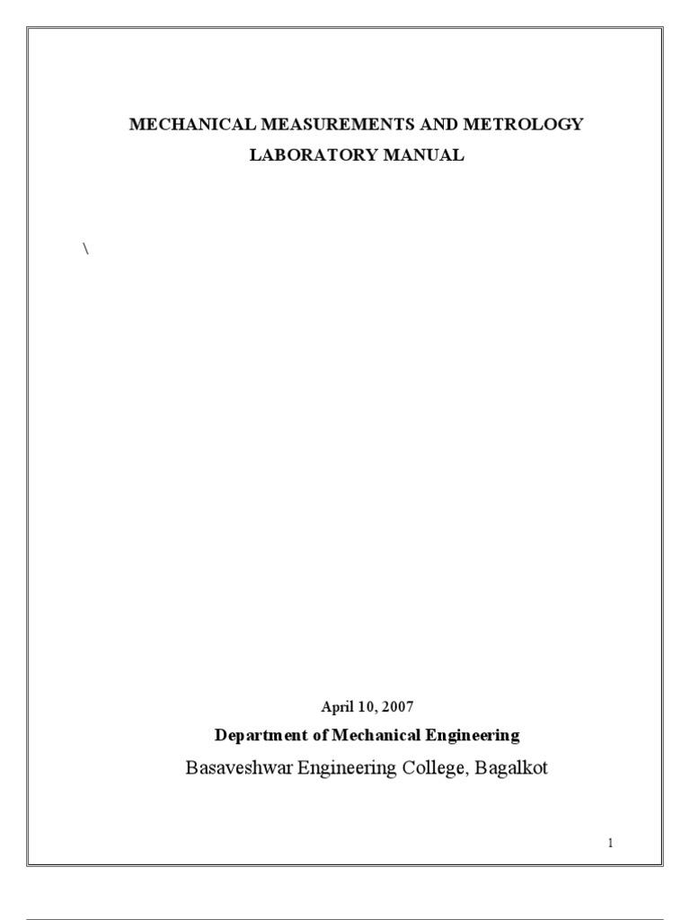 metrology lab manual 1 thermocouple gear rh es scribd com Mechanical Measurements 5th Edition PDF Mechanical Measurements Solution Manual
