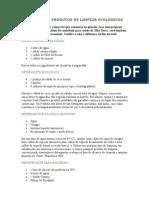 RECEITAS DE PRODUTOS DE LIMPEZA ECOLOGICOS