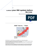 How to Check Your BW System Before Go-Live