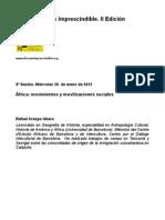 """Guión de la sesión 8, """"Movimientos y movilizaciones sociales en África"""". Impartida por Rafael Crespo"""