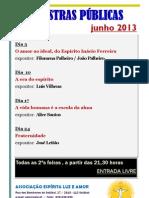 Palestras públicas junho 2013