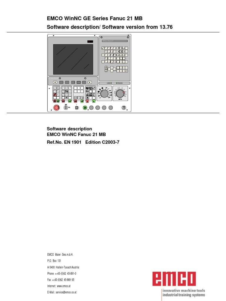 Fanuc21mb en c EMCO WinNC GE Series Fanuc | Drilling | Computer Keyboard