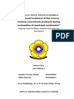 Kelompok 3Advanced Treatment of the Reverse Osmosis Concentrate Produced During Reclamation of Municipal Wastewater