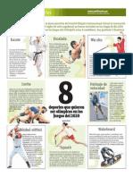 8 deportes que quieren ser olímpicos en los juegos del 2020