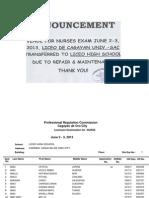 PRC Room Assignment for June 2013 Nursing Board Exam (Cagayan de Oro)