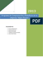 Programa de Compensación y Beneficios de la empresa Super Precio
