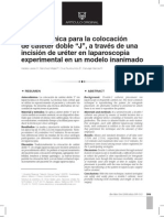Nueva técnica para la colocación de catéter doble J, a través de una incisión de uréter en laparoscopia experimental en un modelo inanimado
