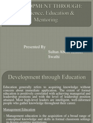 Leadership Development through Education, Experience and