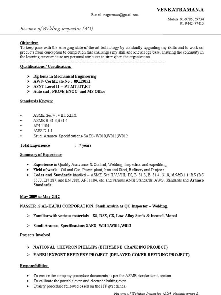 CV of Welding Inspector | Nondestructive Testing | Welding