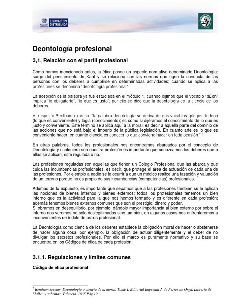 Lectura 14. Deontología profesional