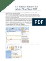 Cara Membuat Halaman Romawi Dan Angka Dalam Satu File Di Word 2007
