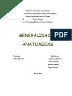 Generalidades anatomicas.