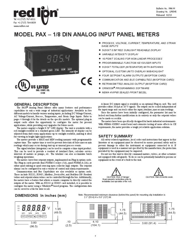 Pax Panel Meter by Redlion   Resistor   Relay