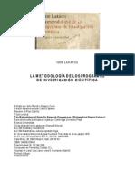 LAKATOS, IMRE - LA METODOLOGIA DE LOS PROGRAMAS DE INVESTIGACIÓN CIENTIFICA