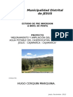 Pf Agua Potable Jesus Catan - Memoria Descriptiva