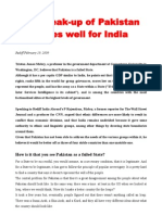 The Break-up of Pakistan Bodes Well for India
