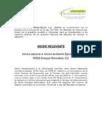 Fersa Informe adicional al Informe de Gestión ejercicio 2008. 2009