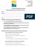 Information Form for Blackpool Citadel Musicians Reunion