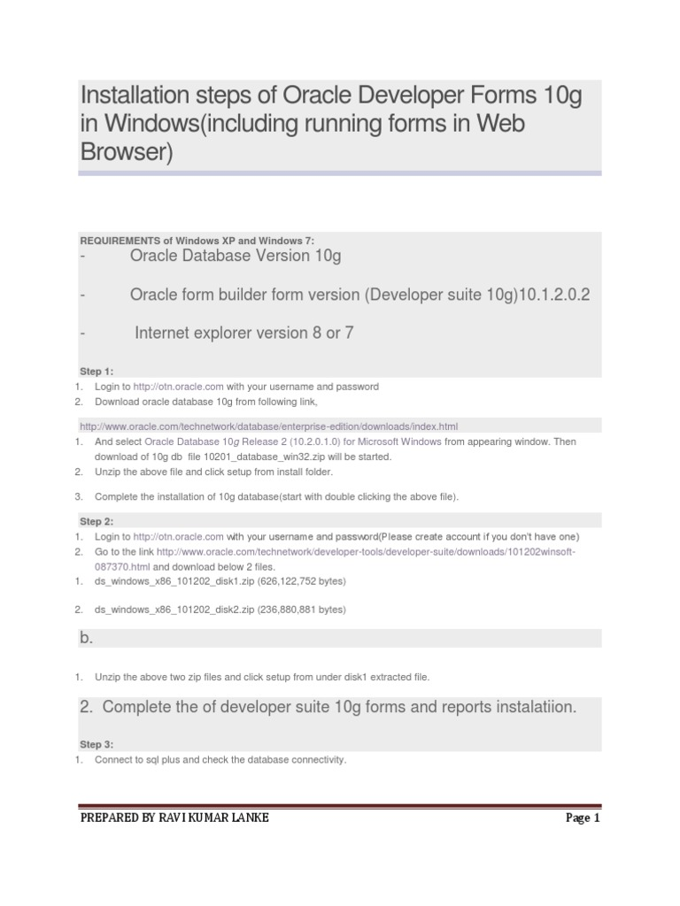 Installation Steps of Oracle Developer Forms 10g in Windows