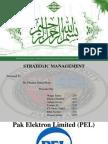 Strategic Management Project of PEL Pakistan