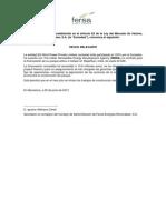 Fersa Otros sobre negocio y situación financiera. 2012