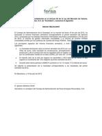 Fersa Información sobre resultados. 2012