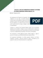 Fersa Ofertas públicas de adquisición de acciones - La CNMV comunica el resultado de la opa. 2012