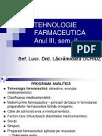 Tehnologie Farmaceutica Anul III, Curs 1.