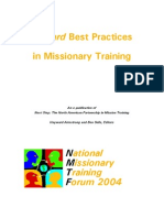 Toward Best Practices in Missionary Training