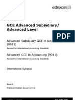 Edexcel International Accounting 8011 9011 GCE Syllabus Revised IAS and A2