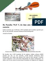 Na Paraíba 74,9 % do lixo não tem descarte correto