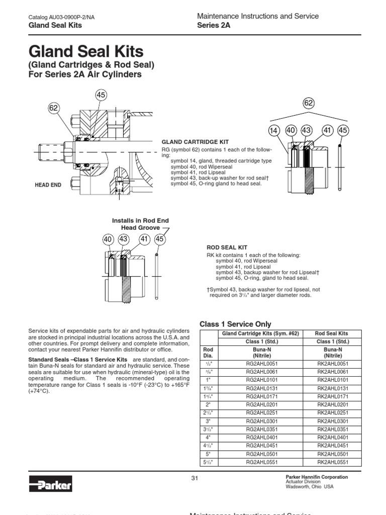 "Parker RK2AN00061 5//8/"" Bunan /""AN/"" Rod Seal Kit"