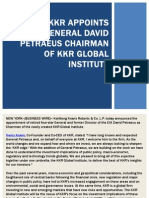 KKR Appoints General David Petraeus Chairman of KKR Global Institute