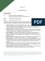 Subcommittee hearing notice