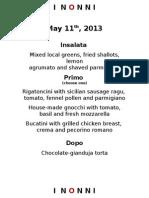 A Great Italian Menu