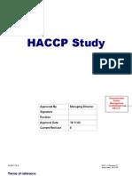 Example HACCP Study