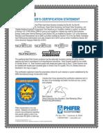 Manufacturing Certification Statement