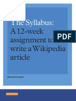 Sample Syllabus for Wikipedia Assignment