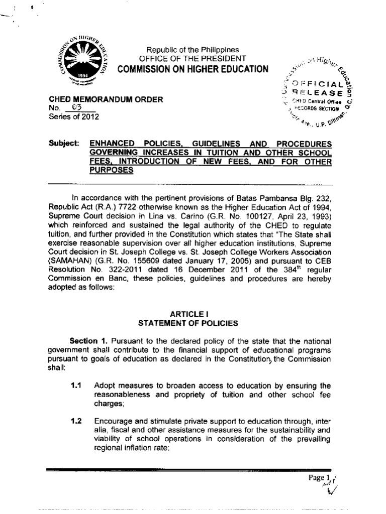 CHED Memorandum Order No  3 s 2012 (Tuition and Other Fee Increase)