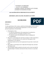 Job Design, Job Analysis, And Job Evaluation Lecture Notes